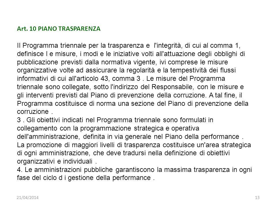 Art. 10 PIANO TRASPARENZA