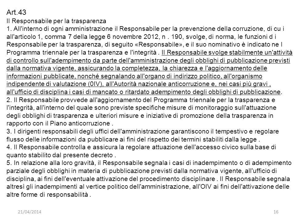 Art.43 Il Responsabile per la trasparenza