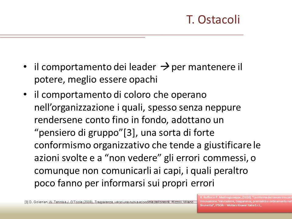 T. Ostacoli il comportamento dei leader  per mantenere il potere, meglio essere opachi.