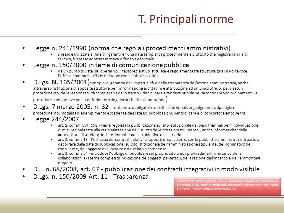 T. Principali norme Legge n. 241/1990 (norma che regola i procedimenti amministrativi)