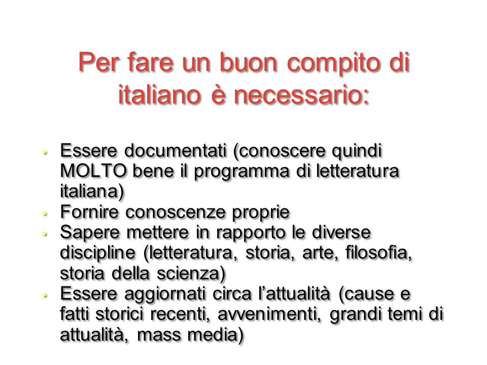 Per fare un buon compito di italiano è necessario: