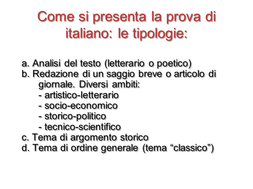 Come si presenta la prova di italiano: le tipologie: