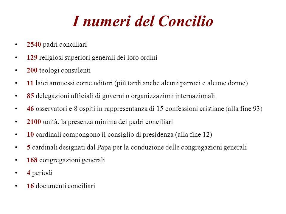 I numeri del Concilio 2540 padri conciliari