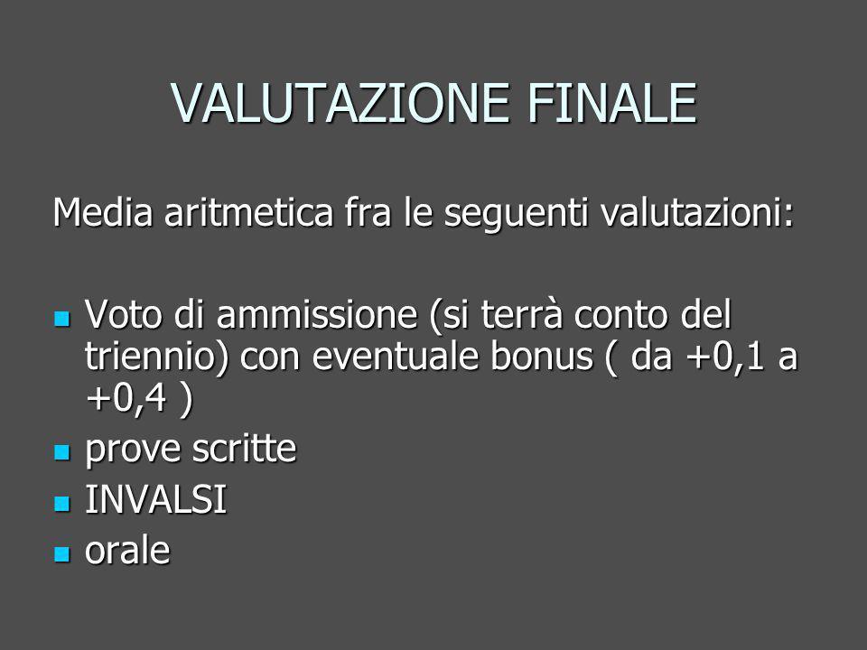 VALUTAZIONE FINALE Media aritmetica fra le seguenti valutazioni: