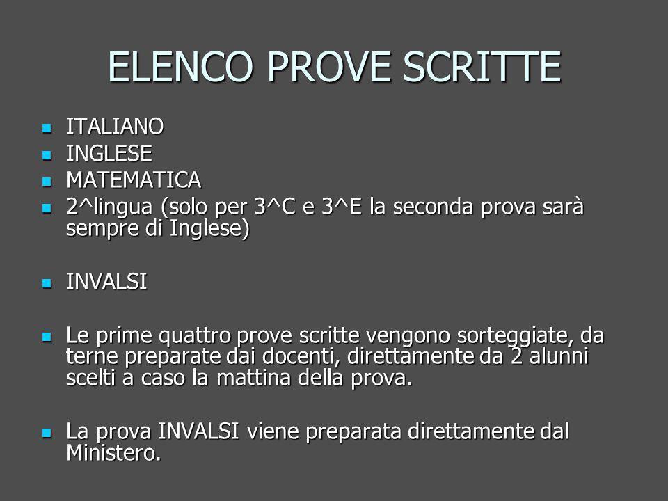 ELENCO PROVE SCRITTE ITALIANO INGLESE MATEMATICA