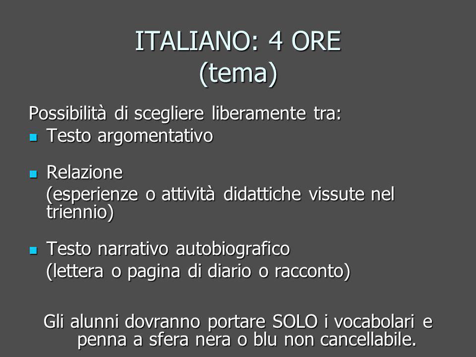 ITALIANO: 4 ORE (tema) Possibilità di scegliere liberamente tra: