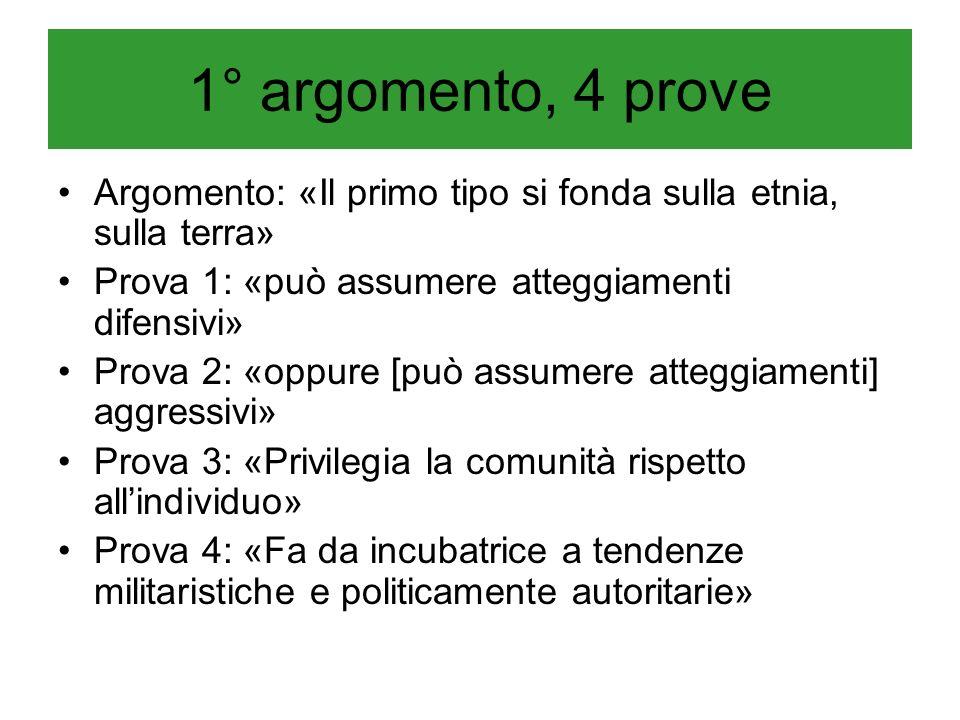 1° argomento, 4 prove Argomento: «Il primo tipo si fonda sulla etnia, sulla terra» Prova 1: «può assumere atteggiamenti difensivi»