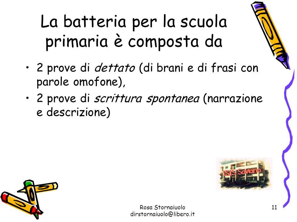 La batteria per la scuola primaria è composta da