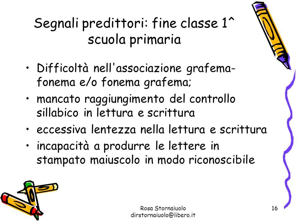 Segnali predittori: fine classe 1^ scuola primaria
