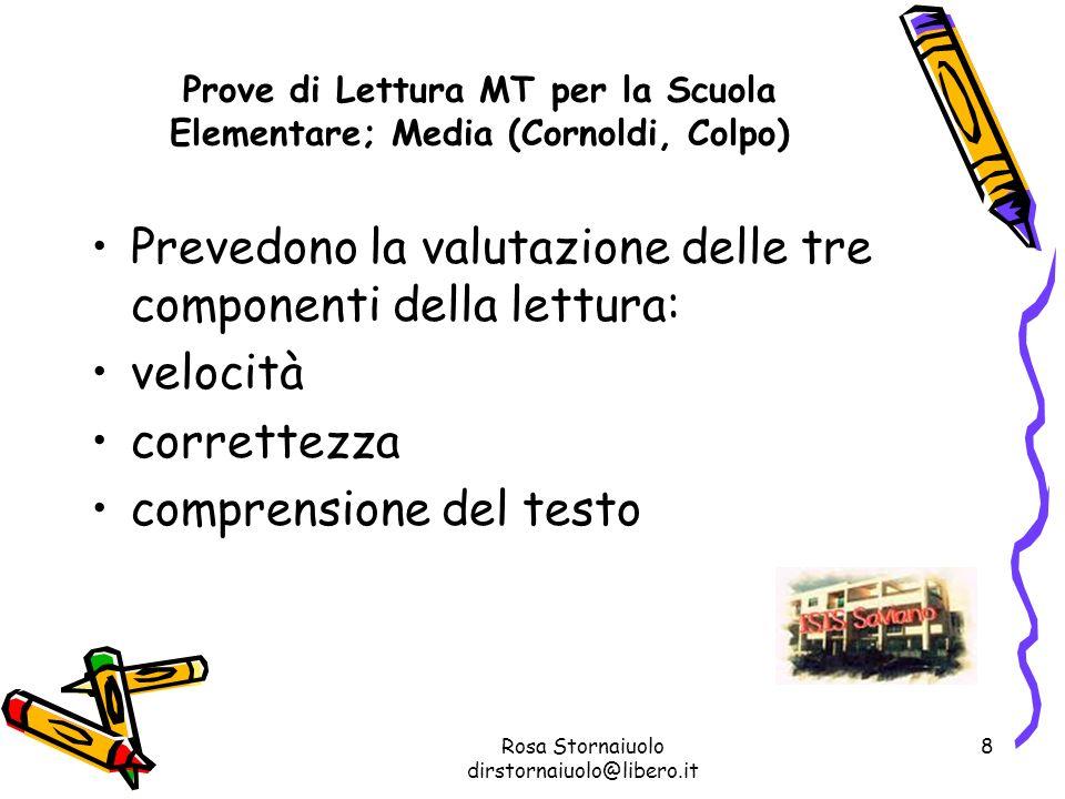 Prove di Lettura MT per la Scuola Elementare; Media (Cornoldi, Colpo)