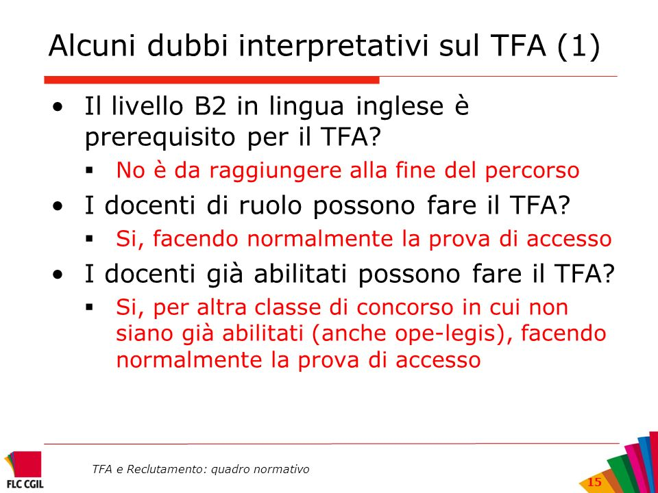 Alcuni dubbi interpretativi sul TFA (1)