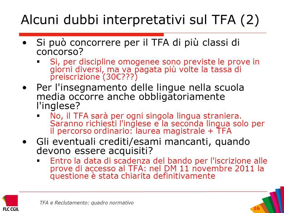 Alcuni dubbi interpretativi sul TFA (2)