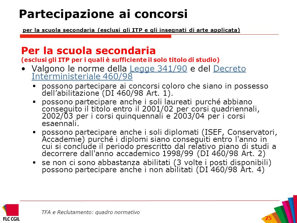 Partecipazione ai concorsi per la scuola secondaria (esclusi gli ITP e gli insegnati di arte applicata)