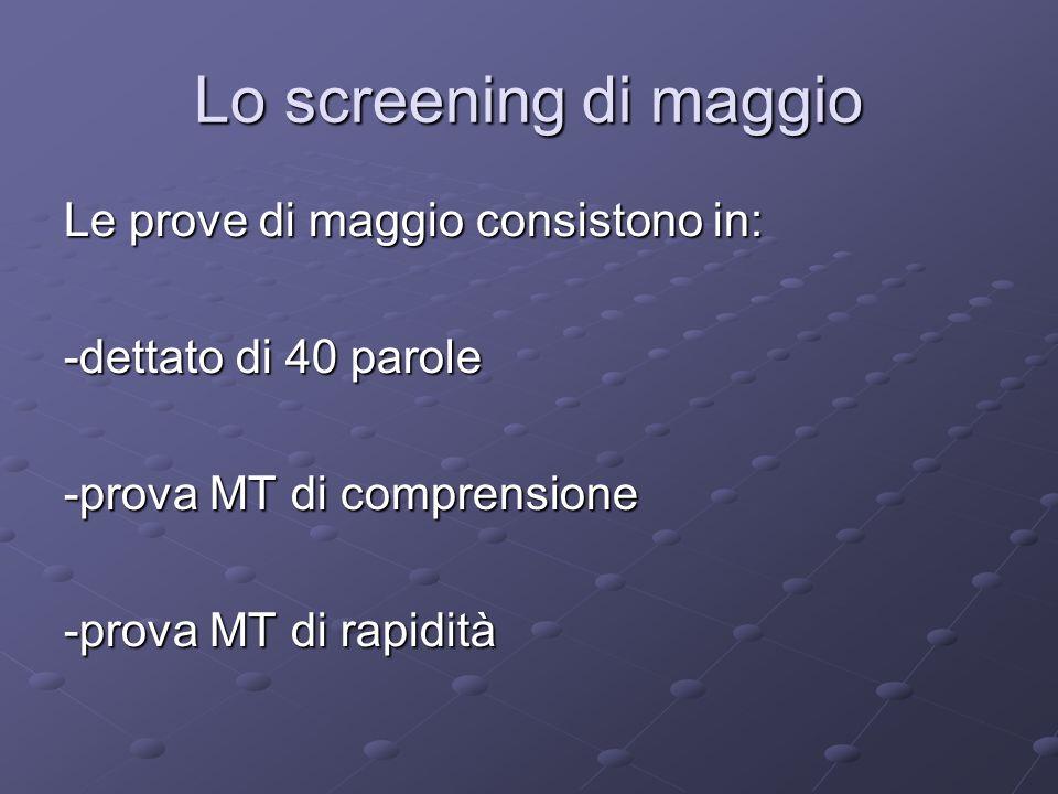Lo screening di maggio Le prove di maggio consistono in: