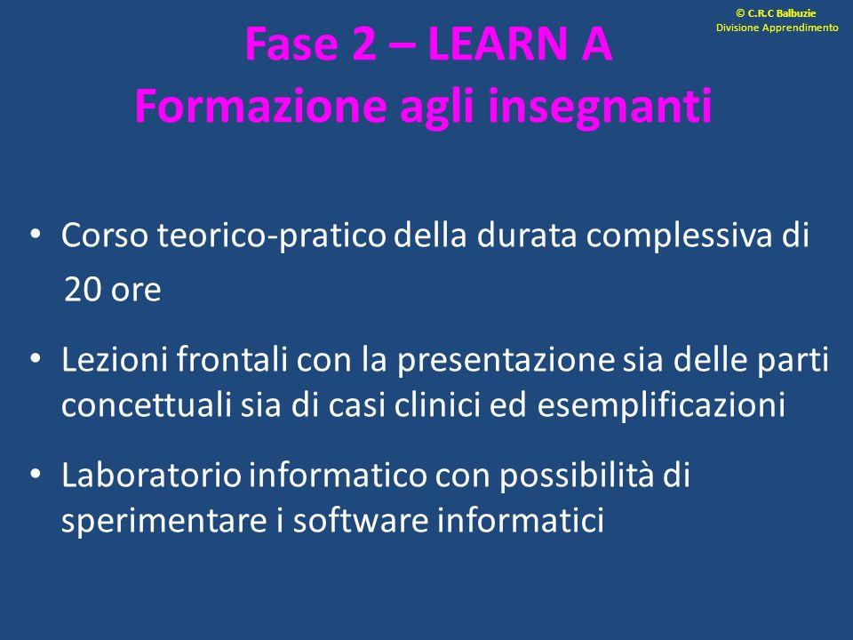 Fase 2 – LEARN A Formazione agli insegnanti