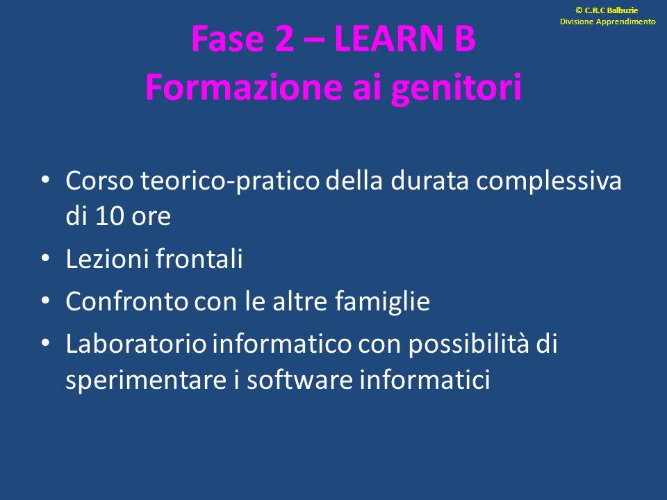 Fase 2 – LEARN B Formazione ai genitori