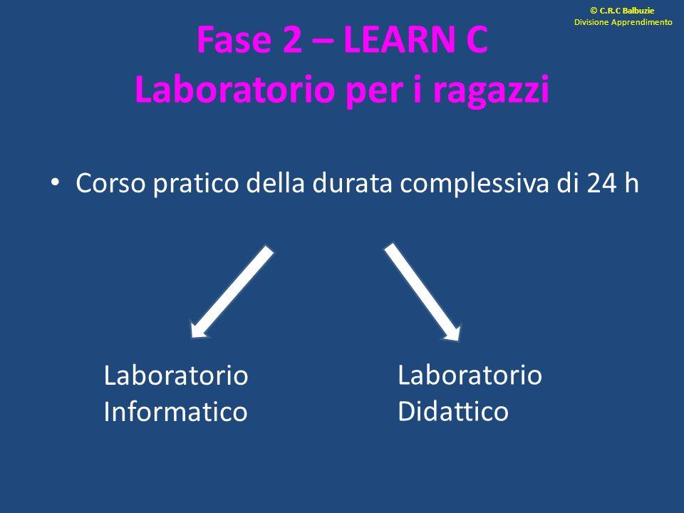 Fase 2 – LEARN C Laboratorio per i ragazzi