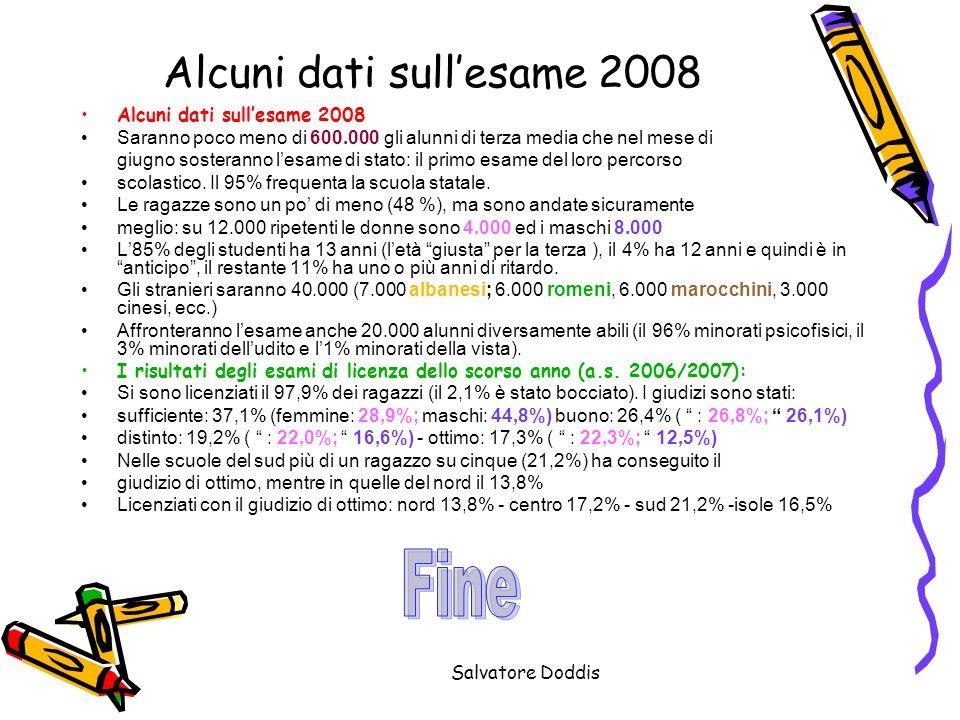 Alcuni dati sull'esame 2008
