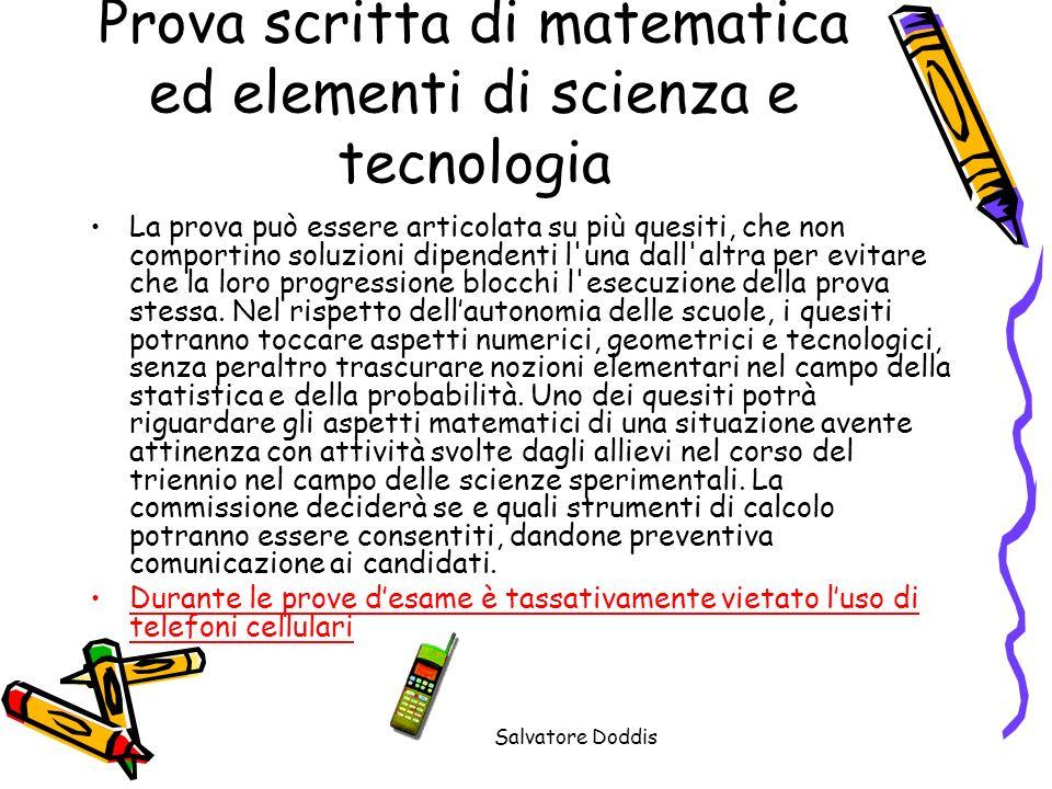 Prova scritta di matematica ed elementi di scienza e tecnologia