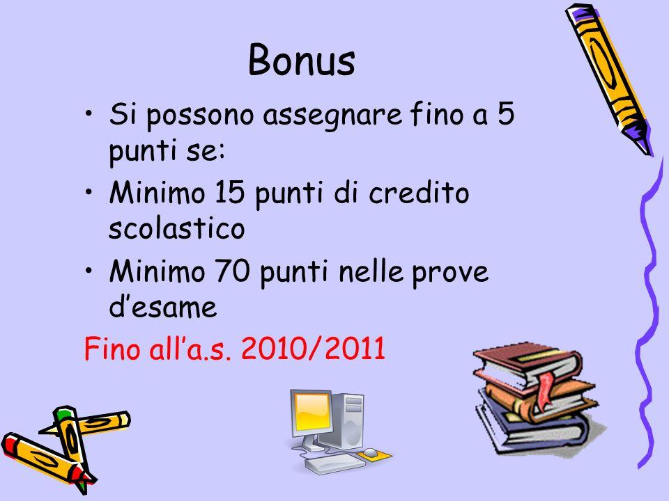 Bonus Si possono assegnare fino a 5 punti se: