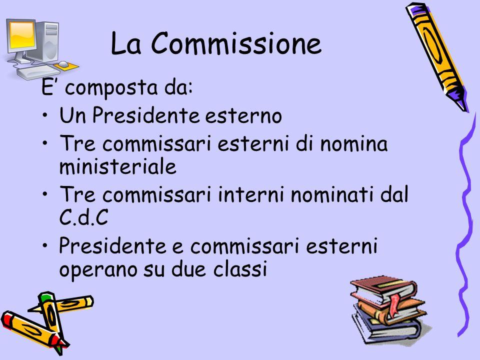 La Commissione E' composta da: Un Presidente esterno