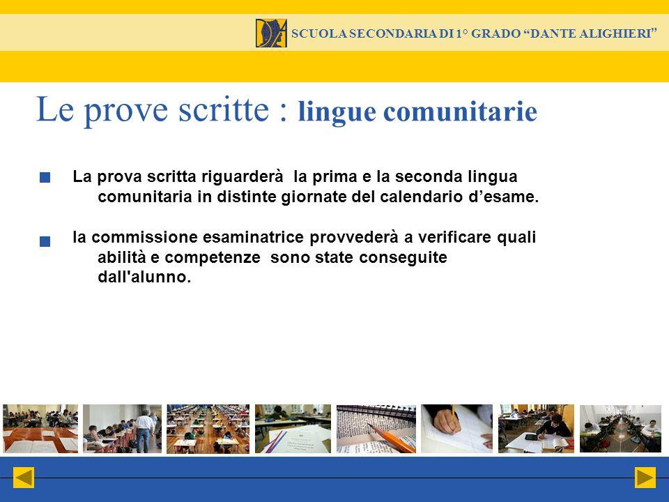 Le prove scritte : lingue comunitarie