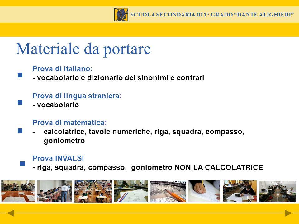 Materiale da portare Prova di italiano: