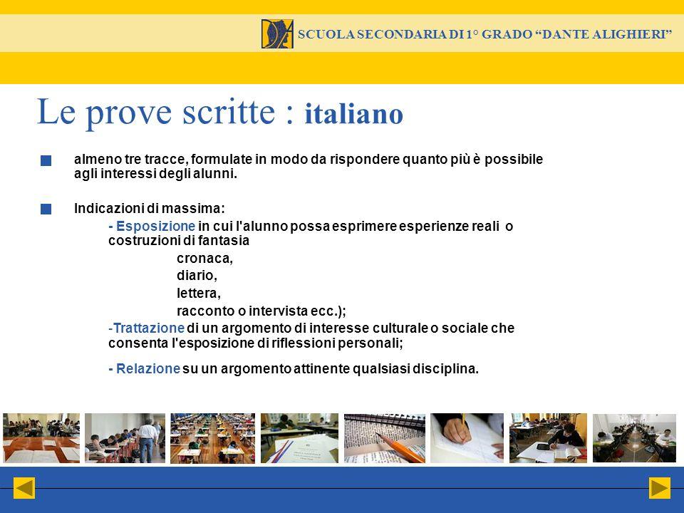 Le prove scritte : italiano