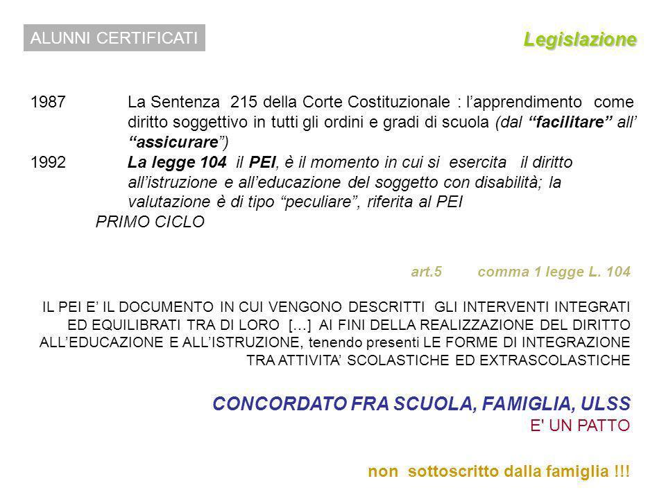 CONCORDATO FRA SCUOLA, FAMIGLIA, ULSS