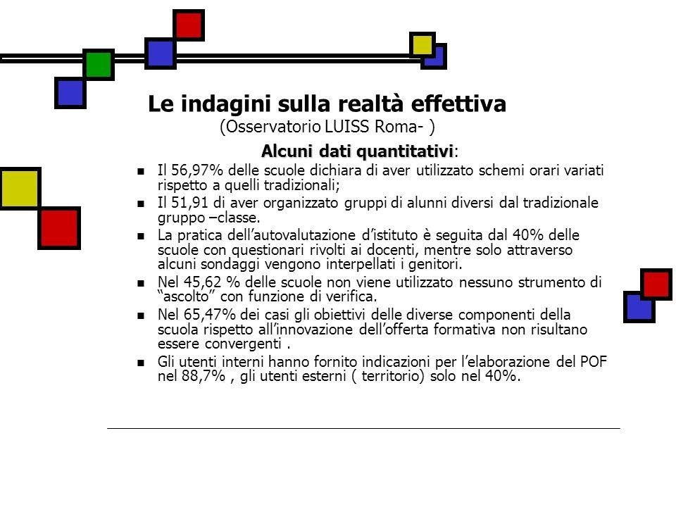 Le indagini sulla realtà effettiva (Osservatorio LUISS Roma- )
