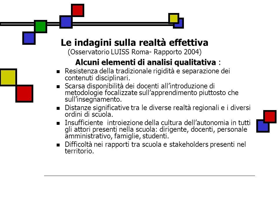 Alcuni elementi di analisi qualitativa :