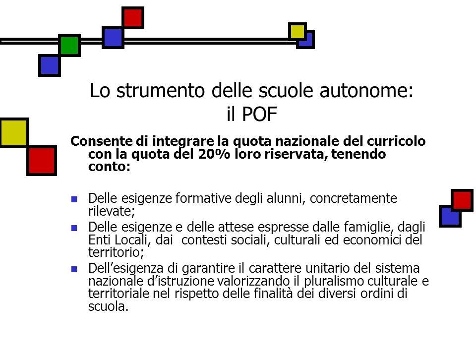 Lo strumento delle scuole autonome: il POF