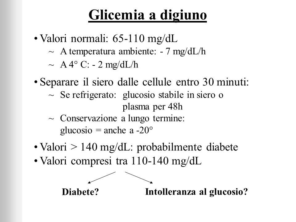 Glicemia a digiuno Valori normali: 65-110 mg/dL