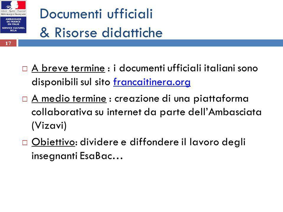 Documenti ufficiali & Risorse didattiche