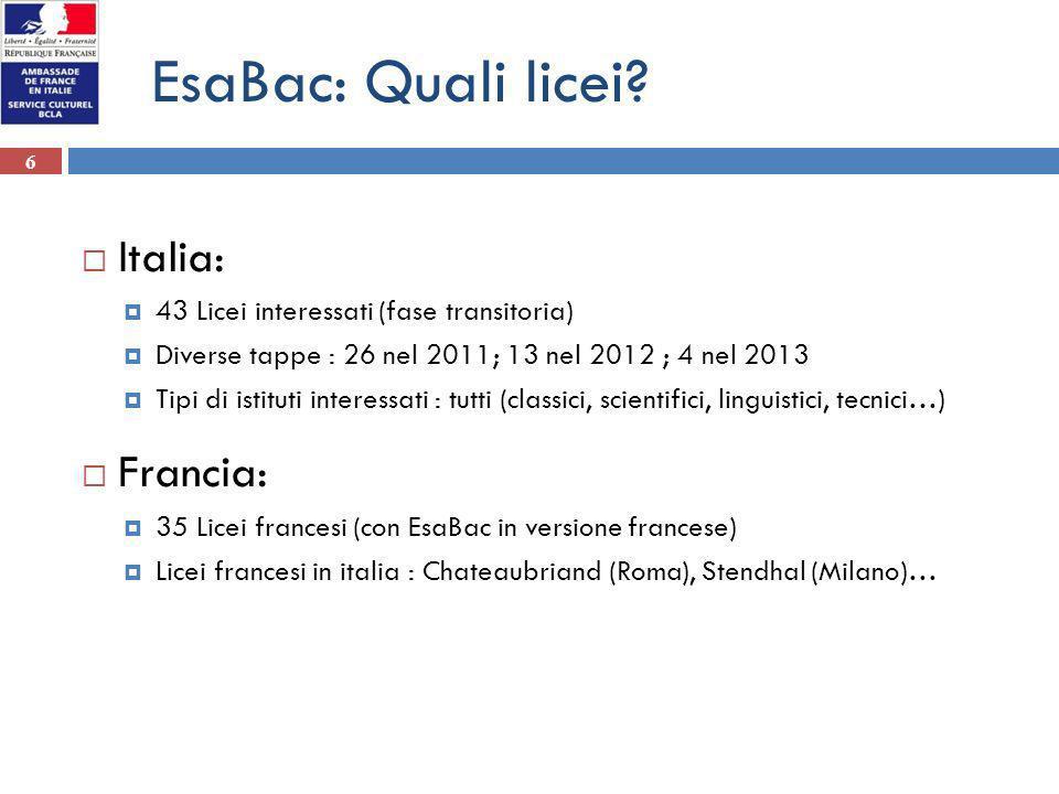EsaBac: Quali licei Italia: Francia: