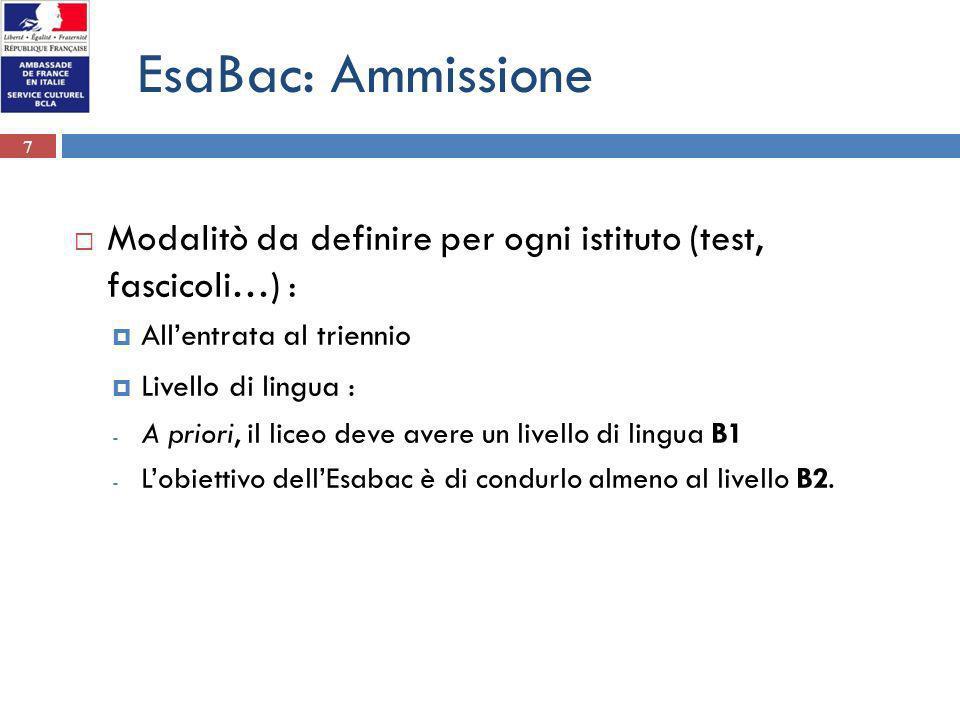 EsaBac: Ammissione Modalitò da definire per ogni istituto (test, fascicoli…) : All'entrata al triennio.