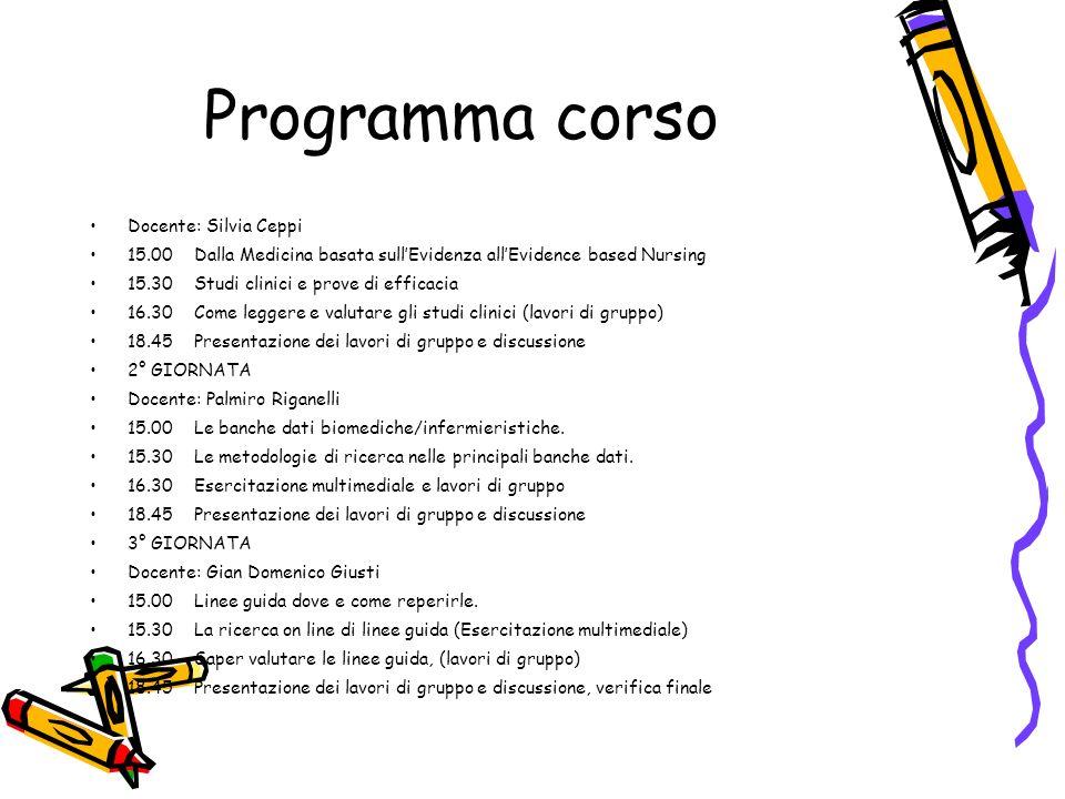 Programma corso Docente: Silvia Ceppi