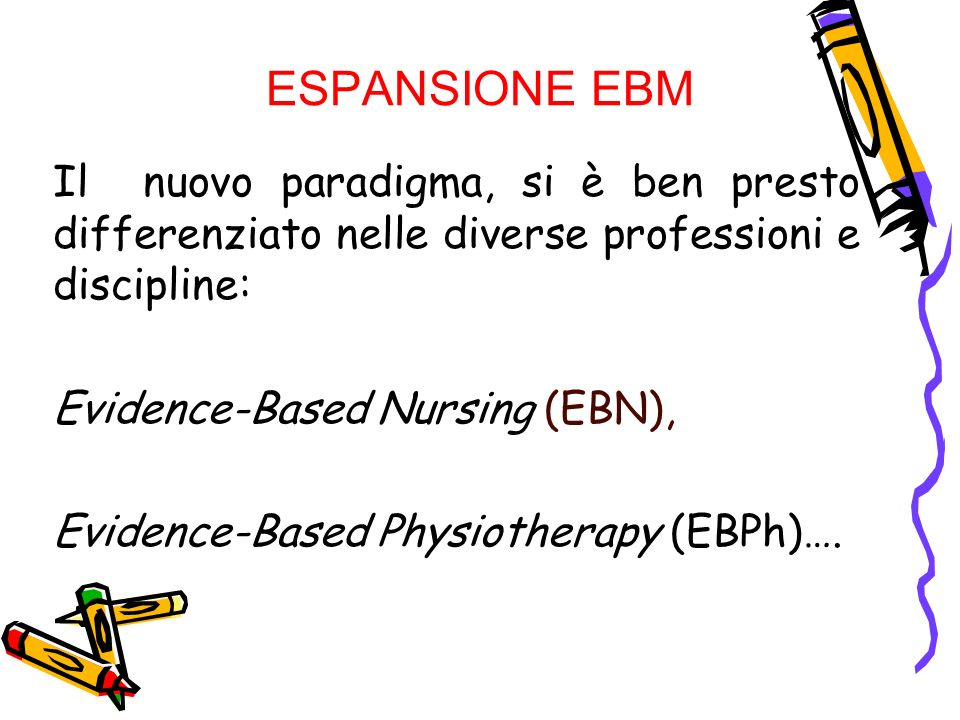 ESPANSIONE EBM Il nuovo paradigma, si è ben presto differenziato nelle diverse professioni e discipline: