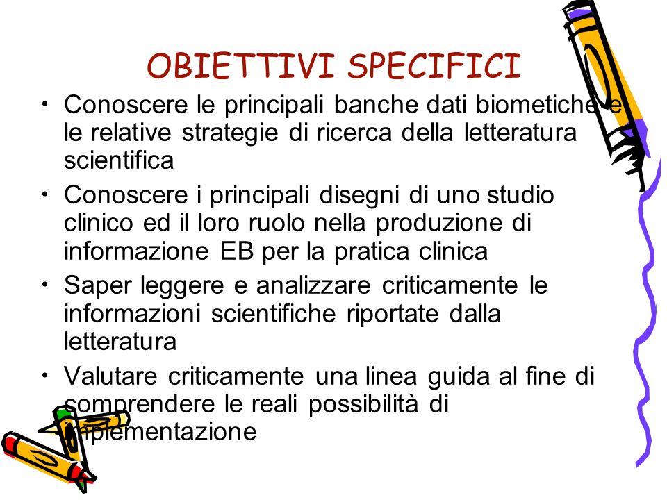 OBIETTIVI SPECIFICI Conoscere le principali banche dati biometiche e le relative strategie di ricerca della letteratura scientifica.