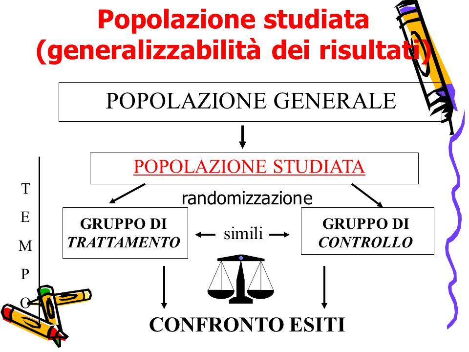 Popolazione studiata (generalizzabilità dei risultati)