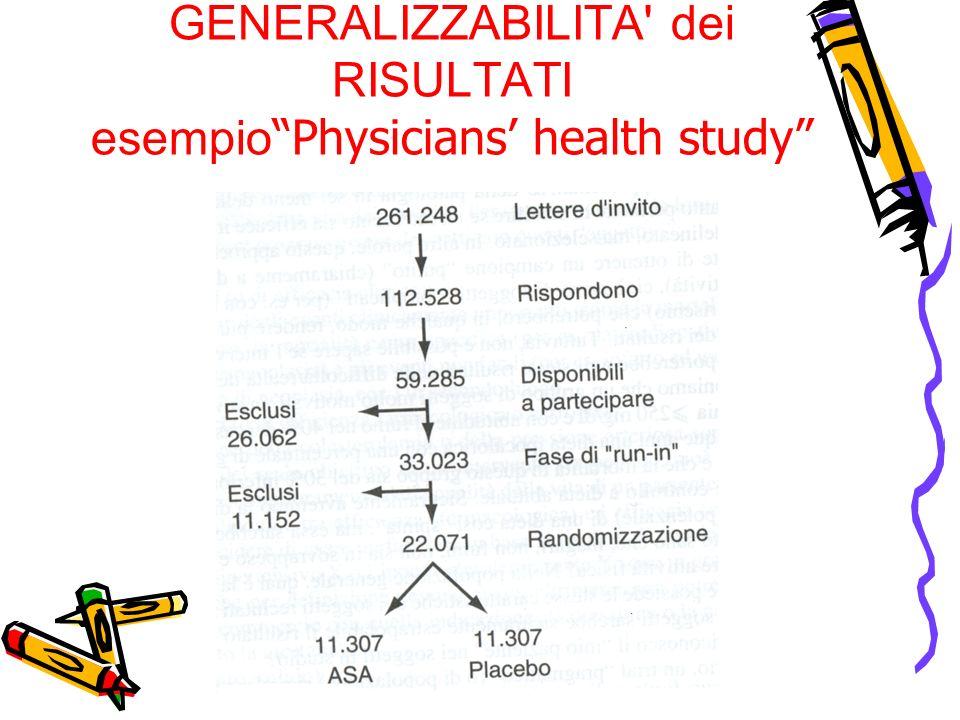 GENERALIZZABILITA dei RISULTATI esempio Physicians' health study
