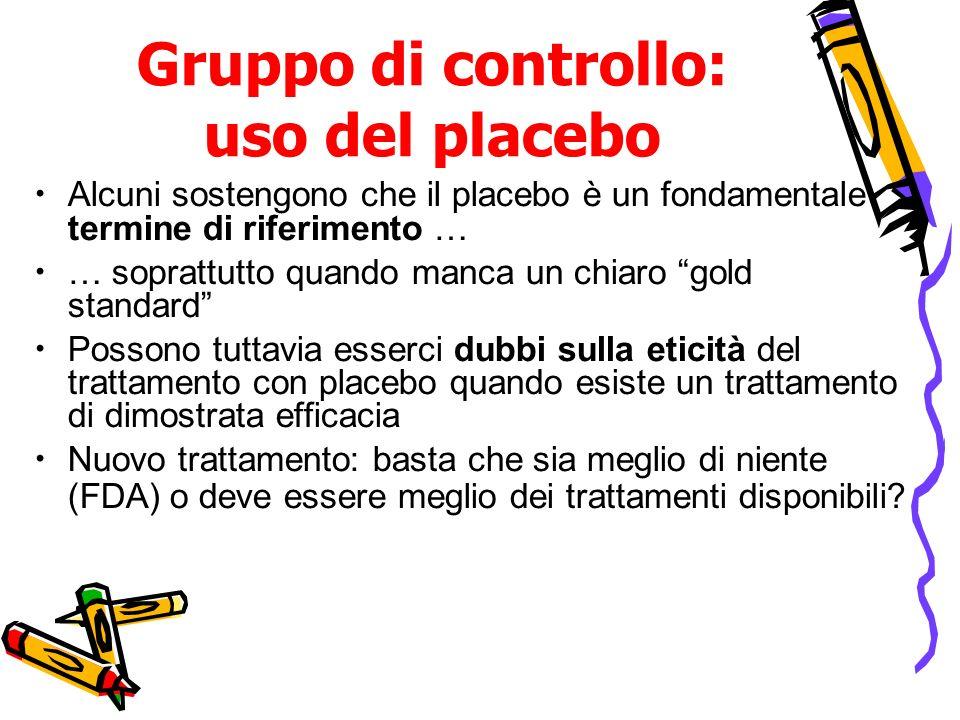 Gruppo di controllo: uso del placebo