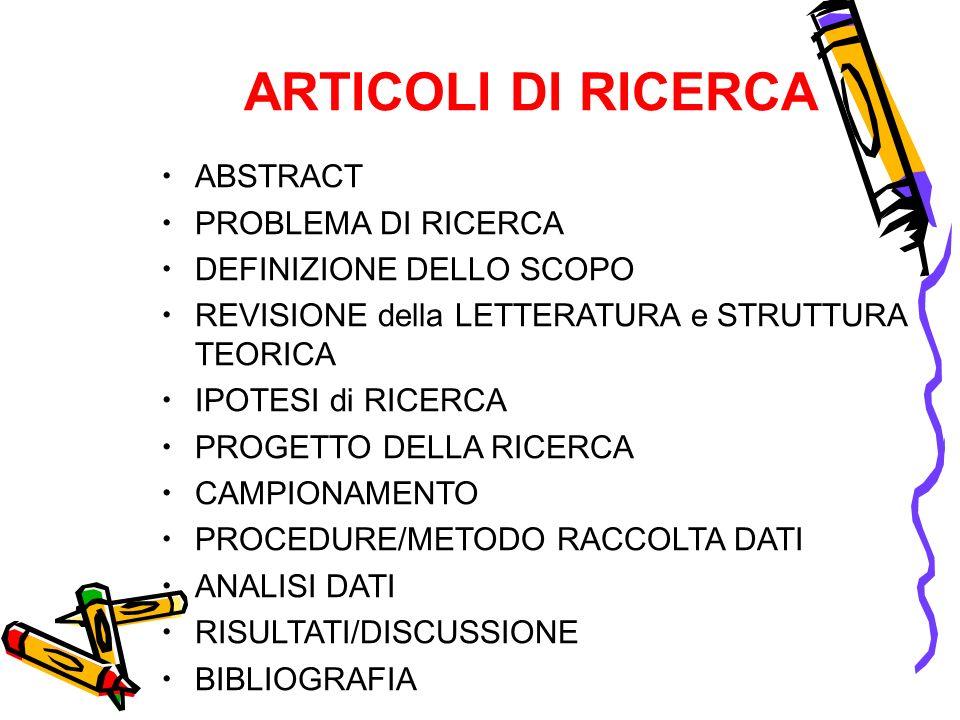 ARTICOLI DI RICERCA ABSTRACT PROBLEMA DI RICERCA