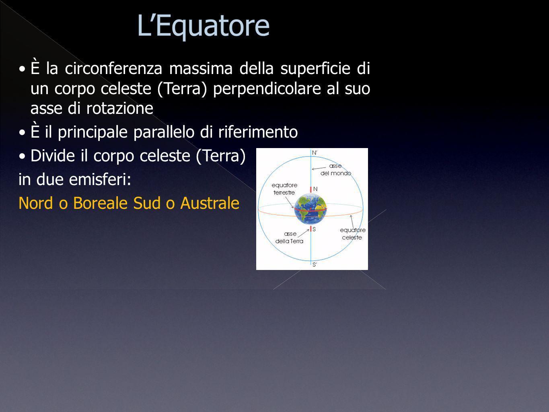 È la circonferenza massima della superficie di un corpo celeste (Terra) perpendicolare al suo asse di rotazione