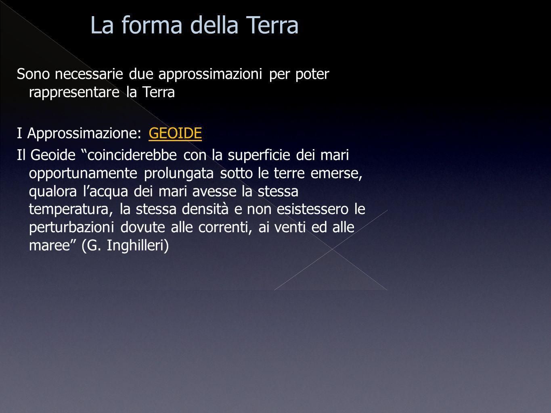La forma della Terra Sono necessarie due approssimazioni per poter rappresentare la Terra. I Approssimazione: GEOIDE.