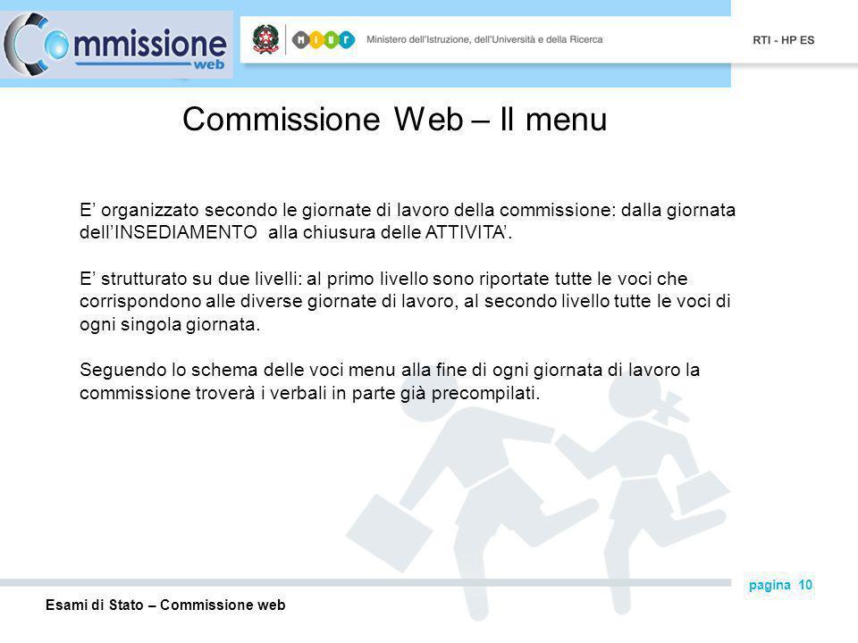 Commissione Web – Il menu