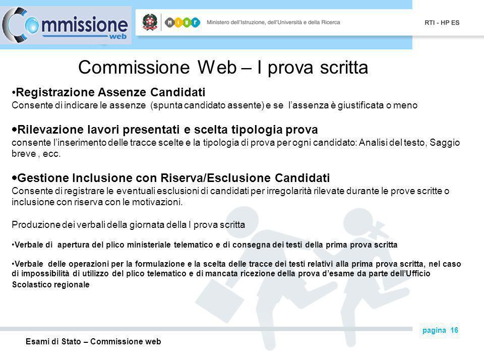 Commissione Web – I prova scritta
