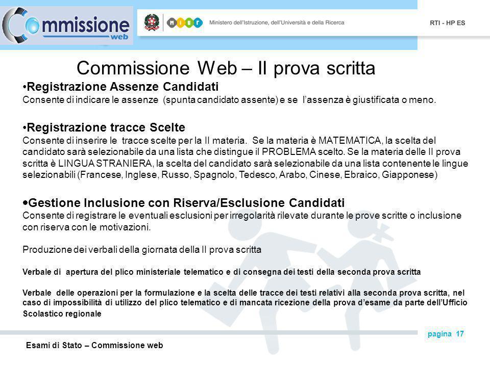 Commissione Web – II prova scritta