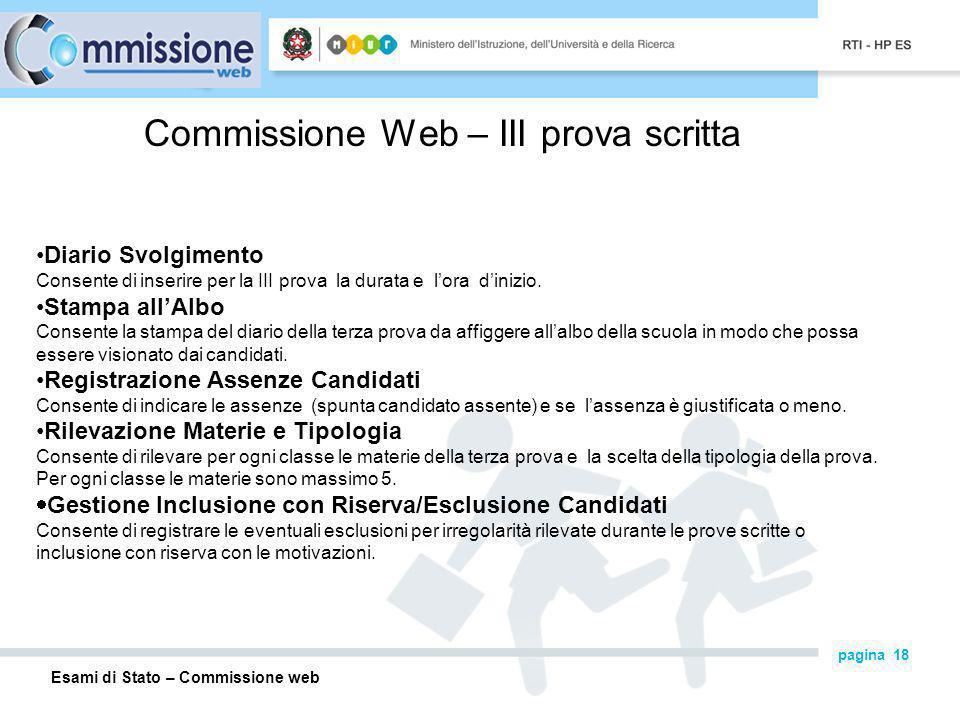 Commissione Web – III prova scritta
