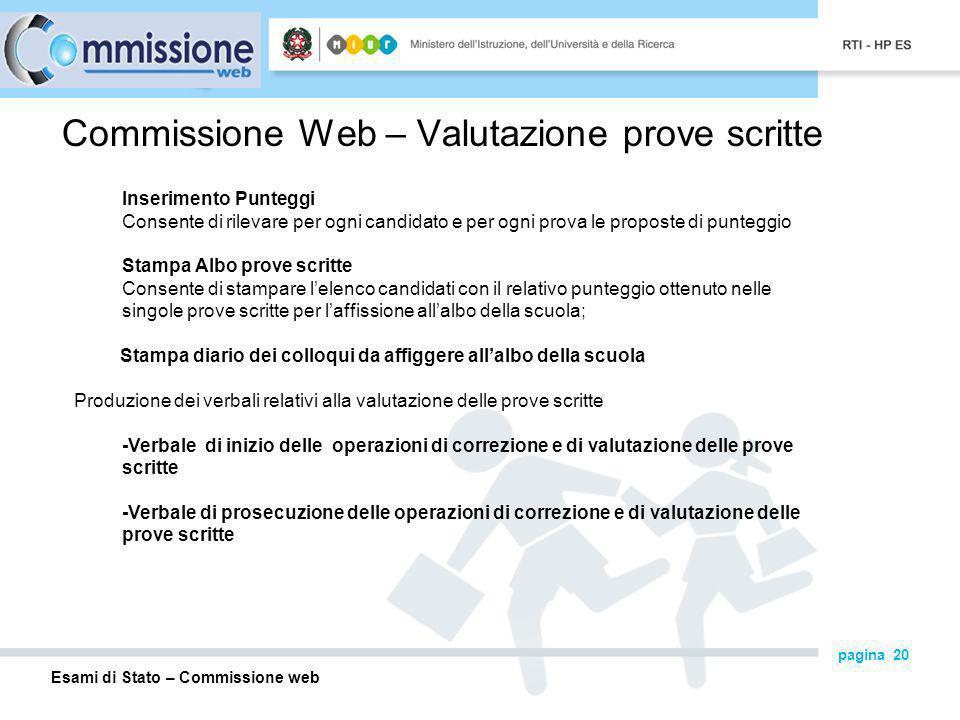 Commissione Web – Valutazione prove scritte